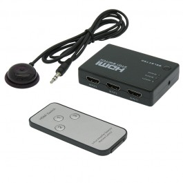 3 Way (3-in/1-out) HDMI Switch 1080p w/Remote, Power Free