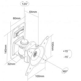 "TV Mount for 10~23"" w/3.8"" Arm 100mm VESA Lockable LCD-153"
